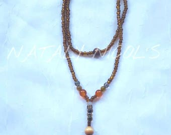 Carnelian Pendulum w/ Dragon Vein Agate/Smoky Quartz Necklace