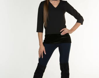 Black V-neck blouse for women decorated with velvet