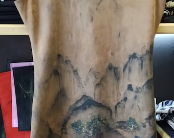 Hand Painted suede dress