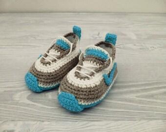 Crochet baby shoes Baby sneakers Baby booties Shoes newborn Athletic shoes Baby crochet shoes Crochet baby boy Baby photo prop Baby shoe