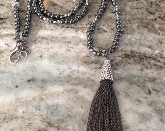 Hematite Necklace with Crystal and Chain Mail Tassel Drop