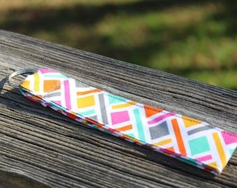 Rainbow Patterned Key Fob/ Fabric Keychain