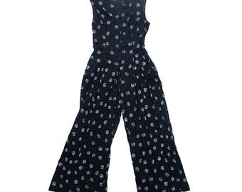 Black and white paisley wide leg jumpsuit with pockets