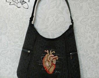 Embroidered bag for women Textile Shoulder Bag for City Embroidered Gift Women's Shoulder Bag on Summer Shoulder Bag Embroidery A heart