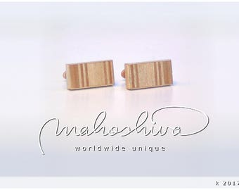 wooden cuff links wood cherry maple handmade unique exclusive limited jewelry - mahoshiva k 2017-92