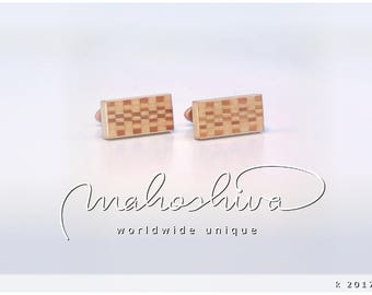 wooden cuff links wood cherry maple handmade unique exclusive limited jewelry - mahoshiva k 2017-72