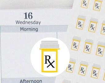110 medicine bottle,Rx bottle stickers, Prescription bottle sticker,pill bottle, medicine reminder,planner sticker ------M108P