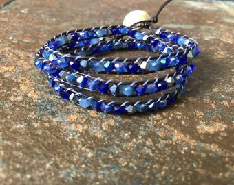 Brown Leather and Blue Bead Triple Wrap Bracelet, Beaded Wrap Bracelet, Leather Wrap Bracelet, Triple Wrap Bracelet, Beaded Bracelet