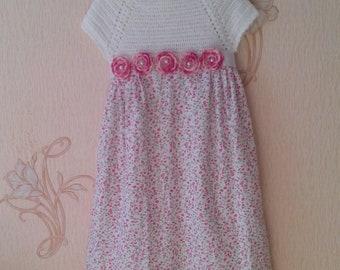 Pink flower girl dress / 1st birthday dress / Christening dress / Cute baby dress / Princess dress / Crochet top and fabric skirt