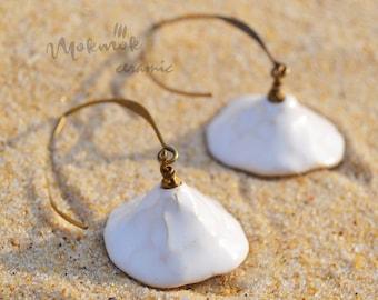 SHORE earrings white glazed ceramic