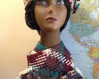 3-Pc Argyle Pattern Headband w/Fingerless Mittens