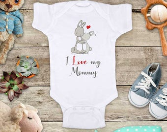 I Love my Mommy Rabbits - Daddy Aunt Uncle Grandpa grandma Godfather Baby bodysuit Toddler Youth Shirt - baby shower gift surprise