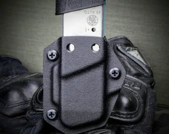 M and P Shield 45 ACP Kydex IWB OWB Mag Holster Magazine Carrier Pouch Black