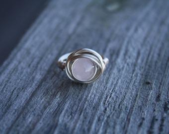 Silver Wire Wrapped Semiprecious Quartz Ring Size 5