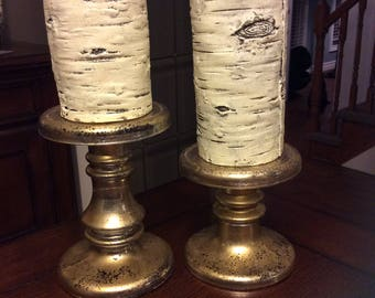 Mercury Painted Candle Holders