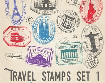Travel Stamps Illustrations Set 1