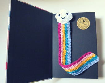 Bookmark Happy CLOUD & RAINBOW crochet EddaBohoDeco handmade GIFT Books