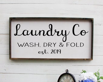 Laundry Room Sign, Laundry Room Decor, Laundry Co Wash Dry And Fold Est Sign, Laundry Sign, Rustic Home Decor, French Country Decor Sign
