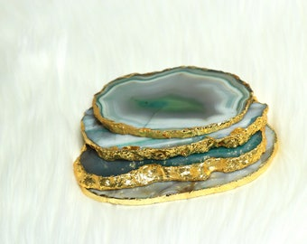 Indian Green/Grey Agate Coasters with Gold Edges