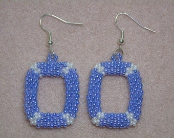 Seed Bead Lilac 3D Rectangle Earrings