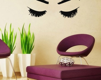 Wall Decal Window Sticker Beauty Salon Woman Face Eyelashes Lashes Eyebrows Brows t14