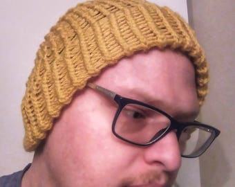 Yellow Slouchy Hat | Handmade Loom Knit