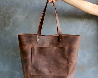 Tote bag Tote bag with pockets Oversized leather tote bag - Distressed Dark Brown Waxed - Hand stitched shopper bag - bag only