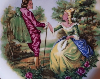 Courting Couple Vintage Plate ~ W.H Grindley & Co LTD ~ Satin White Green Gold ~ Love Romantic ~ Staffordshire Ironstone Broadhurst Burslem