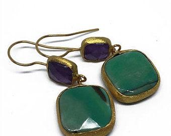 Green-Purple Natural Stone Earrings