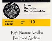 John James Hand Appliqué Needles, Size 10 Straw/Milliner