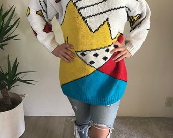 Chunky Vintage 1980s Cotton Graphic Sweater