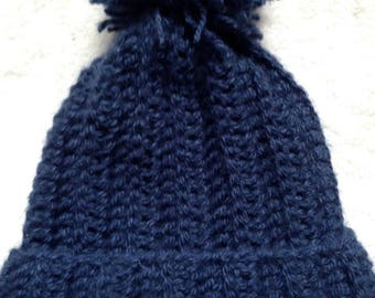 Crocheted Cabled Navy Blue Women's Winter Hat