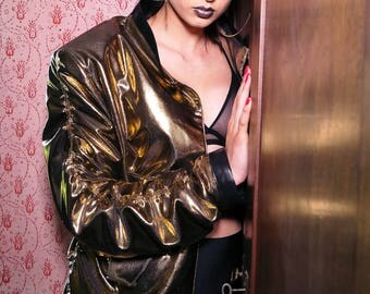 Golden shiny bomber jacket