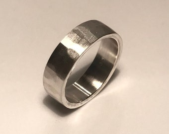 Hammered Texture Solid Silver Ring