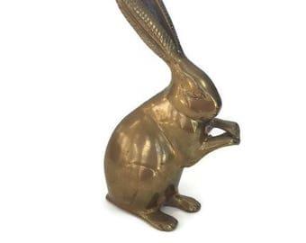 Brass Animal Brass Rabbit Brass Bunny Rabbit Vintage Brass Animals Rabbit Bunny Decor Mid Century Decor
