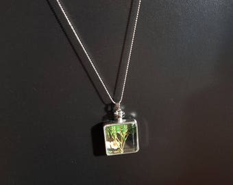 silver glass pendant on chain