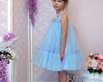 Light Blue Tulle Flower Girl Dress, Birthday Party Dress, Summer Tull Dress, Ruffles Dress, Tutu Dress, Layered Dress, Junior Bridesmaids