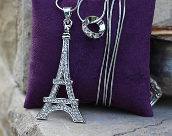 Long Pendant Necklace-Silver Pendant Necklace-Silver Stone Necklace-Silver Stone Pendant-Double Unique Necklace-Silver Statement Necklace
