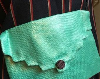 small linen clutch bag