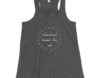 Support Your Local Girl Gang International Women's Day t-shirt Women's Flowy Racerback Tank