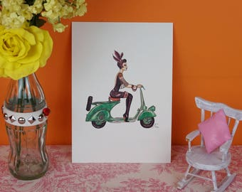 Print with my Girl scooter Vintage