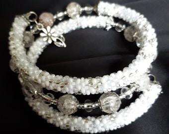 white beadwork bracelet