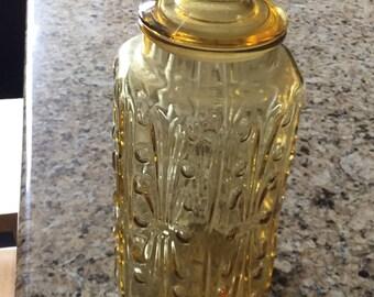 Vintage Amber Glass Cookie Jar - 1960's