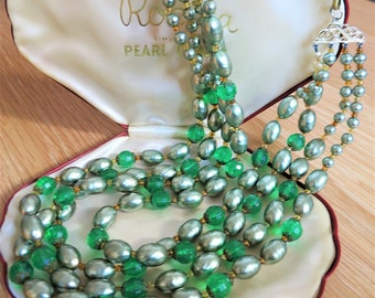 Vintage 1950s faceted green glass and faux pearl four strand necklace