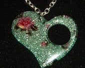 Resin, Heart Shaped Pendant, With Pink Roses on a Pale Green Glittery Background, Boho Necklace, on Memory Wire, Leather Cord, or Chain.