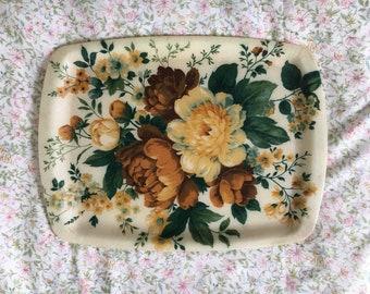 Vintage Floral Fibreglass Drinks Tray