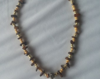 Clear quarts/tigers eye crystal necklace