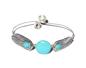 Feather turquoise bohemian upper arm bracelet, armlet.