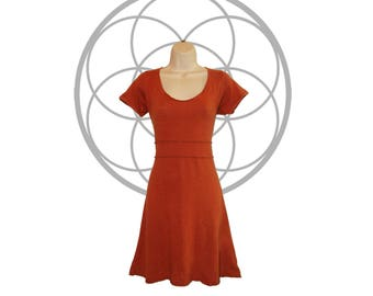 Organic dress - Organic cotton and Hemp Dress - Short Sleeve, knee length Dress, Custom made and hand dyed to order - Organic cotton