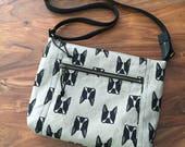 Traverse Crossbody Bag - Gray Boston Terrier - Reserved for Becky